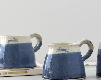 Handmade mug, ceramic hare mug, running hare mug, blue and white mug, coffee mug, illustrated pottery