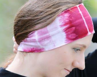 Yoga Headband - Sports Headband - Fitness Headband - Womens Headband Sport - Tie Dye Headband - Bamboo Headband - Pink Headband Women