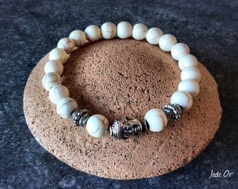 Bracelet ZEN head of Buddha and howlite beads 8mm white