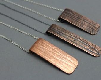 copper pendant necklace, botanical copper necklace, long copper pendant,copper and silver necklace,mixed metal jewellery,copper drop pendant
