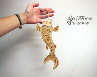 Wooden fish wall hanging, fish wall art, fish decor, koi decor, koi wall hanging, fisherman gift, Japanese carp art,Pisces gift, Easter gift