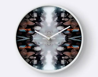 Black and white Fluid Painting Wall Clock ( Art, Unique Wall Clock, Paint, Acrylic, Abstract, Fluid Painting, Wall Art clock, Home Decor)