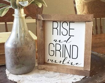 Rise And Grind Sunshine | Wood Sign