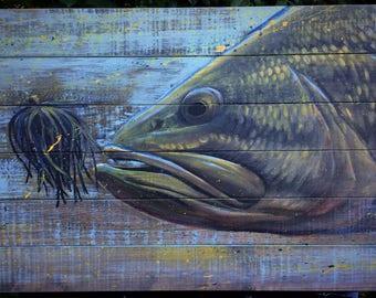 Largemouth bass on wood panel