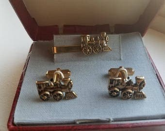Gold Tone Steam Locomotive Cuff Links and Tie Clip