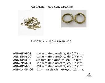 Anneaux de fer, proche mais dessoudé, sans nickel, couleur bronze antique, 4mm, 5mm, 6mm, 7mm, 8mm, 14mm, conditionnement 10g ou 50g