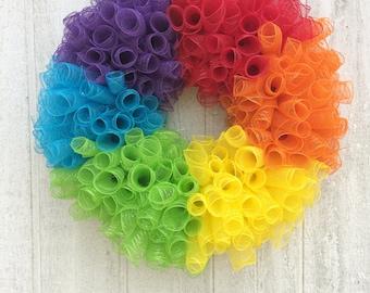 Rainbow Wreath/Pride Wreath/Front Door Wreath/Rainbow Mesh Wreath
