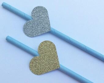 12 Glitter Heart Party Straws Gold Heart Straws Silver Heart Straws Baby Shower Straws Bridal Shower Straws Wedding Straws Light Blue