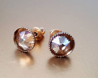 Golden Swarovski Crystal Gold Plate Stud Earrings