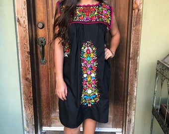 Mexican Dress, Hand Embroidered Dress