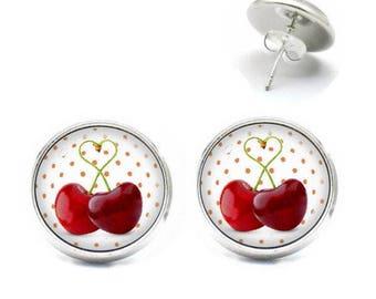 Earrings 14 mm sweet churches glass cabochon sweet cherries