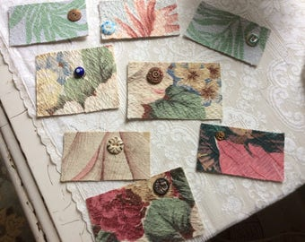 Vintage Lot of Barkcloth and Antique Button Gift Cards, 8 Blank, Handmade
