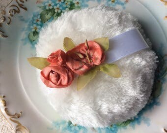 New Powder Puff with Antique Silk Ribbon Work and Leaves Sewn on to Handle. Lovely!