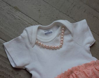 Baby girl pearls and lace dress and headband set