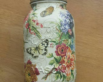 Hand decorated large mason jar
