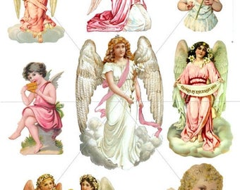 SVG Angels, Digital Clipart Images, Angel Graphics, Printable Clipart, Victorian Pics, PDF and JPG Formats