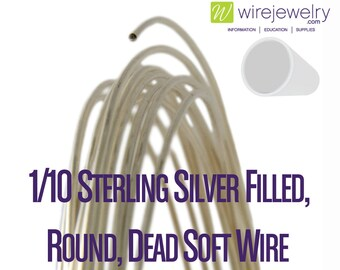 1/10 Sterling Silver Filled, Round, Dead Soft Jewelry Wire, Various Gauges & Lengths