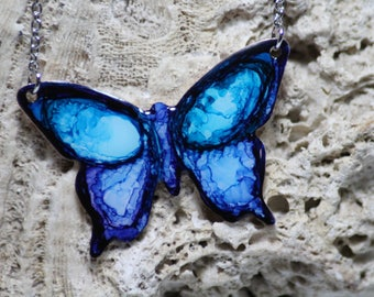 Blue & Purple Hand Painted Butterfly Necklace