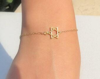 Star Of David Bracelet, Tiny Gold Star Of David Bracelet, Star Of David Jewelry, Jewish Jewelry, Magen David Bracelet, Jewish Star Bracelet.