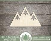 Wood Mountain, Unfinished Wood Mountain Laser Cut Shape, DIY Craft Supply, Many Size Options
