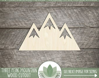 Wood Mountain, Unfinished Wood Mountain Laser Cut Shape, DIY Craft Supply, Many Size Options