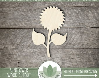 Sunflower Wood Cutout, Wooden Sunflower Shape, Unfinished Wood For DIY Projects, Many Size Options, Wood Laser Cut Shapes, Sunflower