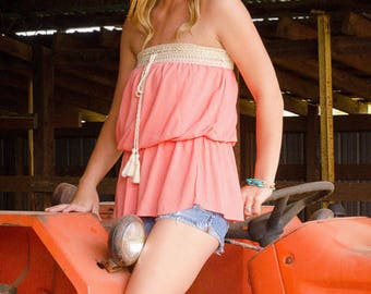 Monogrammed - Strapless Coral Tube Top - Crochet Trimmed