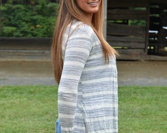 Monogrammed - Striped Open Front Cardigan