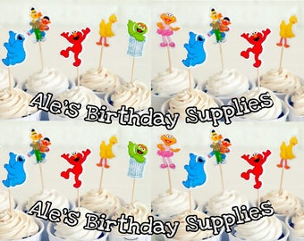 24 Pc Elmo Sesame Street Cupcake Toppers Double Sided Birthday Party Supplies