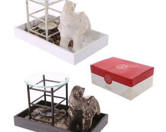 Elephant Tray with Pebbles & Oil Burner