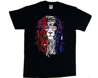4th of July American Flag Rasta Lion