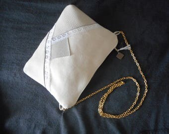 Dress handkerchief shoulder strap chains leather and fabric(tissue) ivory, mole.