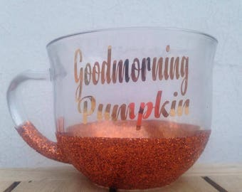 Goodmorning. Pumpkin. Fall. Halloween.Coffeemug.TeaCup.Thanksgiving.