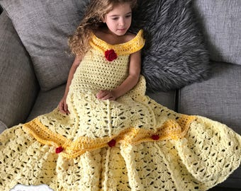 Yellow Princess Dress Blanket, Fairy Tale, Afghan, Comforter, Snuggie, Belle