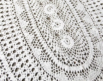 Vintage Crochet Doily, handmade white cotton doily, oval doily, fine lace doily, vintage doilies, vintage lace