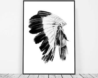 Indian Headdress Print, Tribal Print Poster, Tribal Art, Headdress Home Decor, Headdress Art, Tribal Decor, Tribal Wall Art, Boho Wall Art