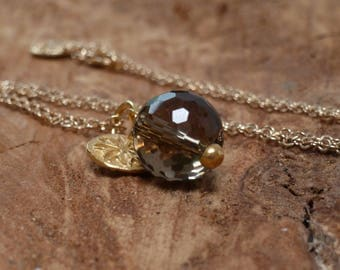 Smokey Quartz Drop Pendant Necklace