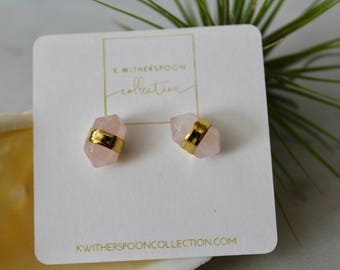 Dainty, Natural Rose, Quartz Stone, Stud Earrings, 18k Gold Plated, Pink Quartz, Boho, Gifts for Her, Bridesmaids, Bridal Party