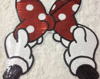 Minnie Bowknot Sequins Applique - Embroidered Iron On Patch