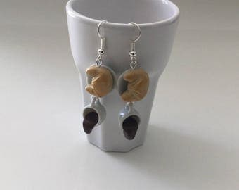 Earrings Crescent coffee spilled