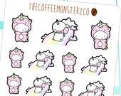 unicorn onesie emotis - hand drawn emoti stickers for your planner