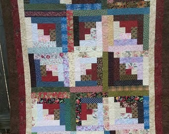 twin size log cabin quilt 57x82