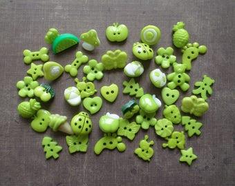 60 buttons as animals Fruit flower green
