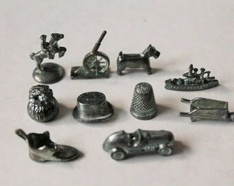 Monopoly game pieces-Set of 10 silver game token pieces-Vintage Monopoly-game room decor-crafting monopoly pieces or replacement