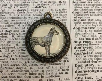 Handmade Vintage Dictionary Dog Necklace - Doberman