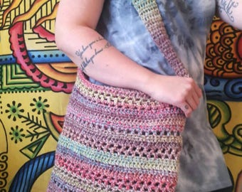 Crochet hippie shoulder bag, womens shopping market ladies, vegan bag, shopper, girls slouch bag, crossbody, handbag, boho gypsy, boho chic