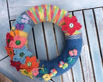 Crochet summer yarn wreath, bright colours, cotton