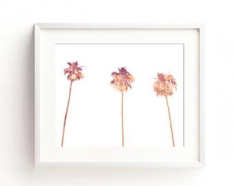 palm tree decor, tropical art print, palm trees print, dorm, orange, peach, pink, beach printable, beach cottage decor, girls nursery art