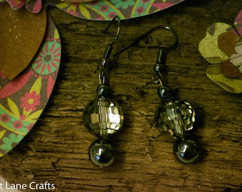 Haematite, Crystal Drop Earrings