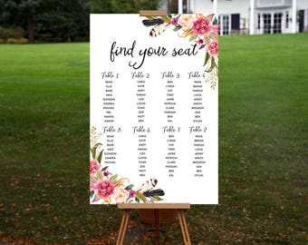 Rustic Pink Floral Seating Chart - Watercolour Florals - Personalised Digital Download - Printable